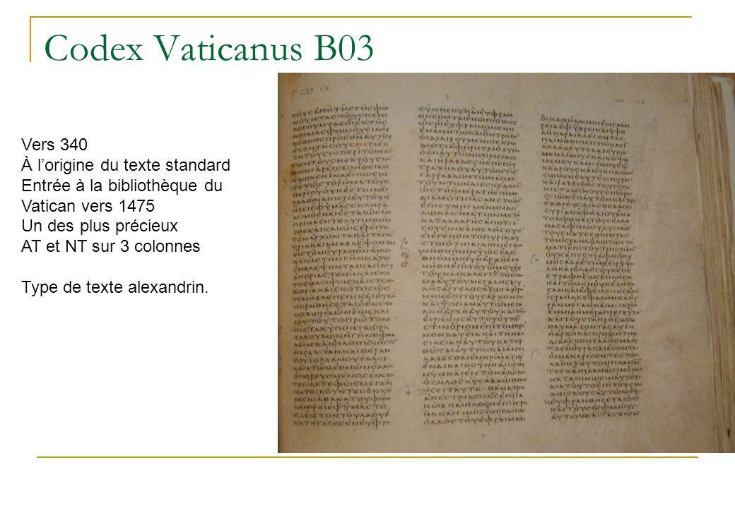 Codex de Bèze D05 Bilingue grec latin Forme pour la lecture publique copié vers 400 mais sur un texte de 120 Associé à Saint Irénée À Lyon depuis le 9ème siècle En 1546 honneur du concile de Trente pour ses variantes remarquables Acquis par Théodore de Bèze en 1562 Actuellement à Cambridge Type de texte occidental.