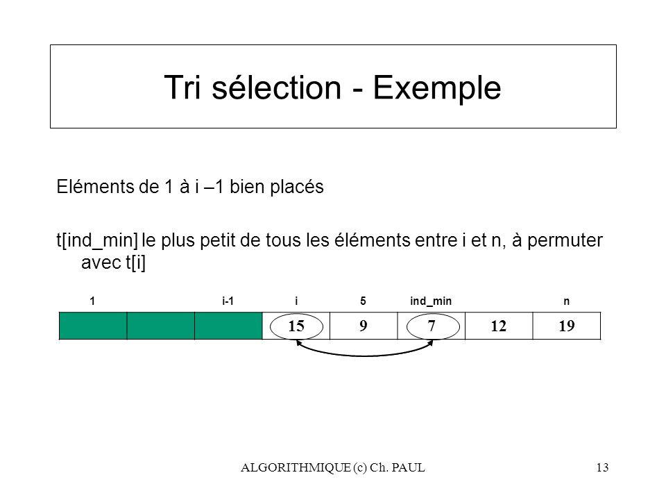 ALGORITHMIQUE (c) Ch. PAUL13 Tri sélection - Exemple Eléments de 1 à i –1 bien placés t[ind_min] le plus petit de tous les éléments entre i et n, à pe