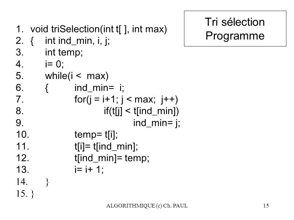 ALGORITHMIQUE (c) Ch. PAUL15 Tri sélection Programme 1.void triSelection(int t[ ], int max) 2.{ int ind_min, i, j; 3.int temp; 4.i= 0; 5.while(i < max