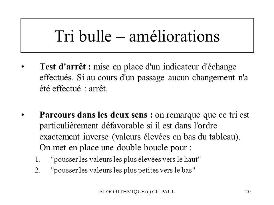 ALGORITHMIQUE (c) Ch. PAUL20 Tri bulle – améliorations Test d'arrêt : mise en place d'un indicateur d'échange effectués. Si au cours d'un passage aucu