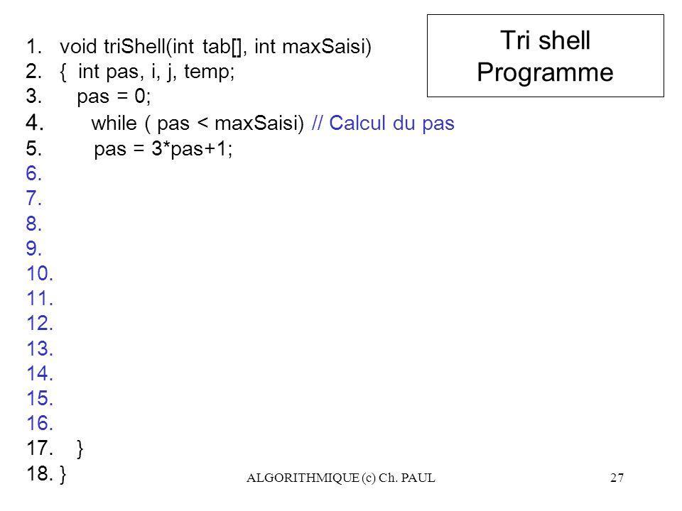 ALGORITHMIQUE (c) Ch. PAUL27 Tri shell Programme 1.void triShell(int tab[], int maxSaisi) 2.{ int pas, i, j, temp; 3. pas = 0; 4. while ( pas < maxSai