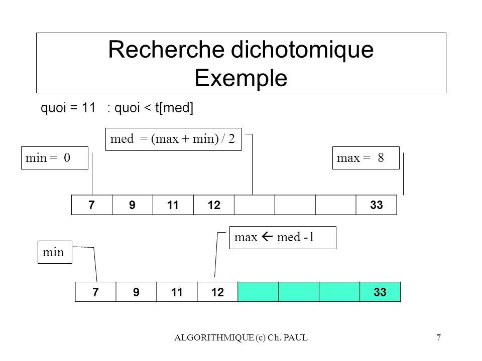 ALGORITHMIQUE (c) Ch. PAUL7 Recherche dichotomique Exemple quoi = 11 : quoi < t[med] med = (max + min) / 2 79111233 max = 8 max  med -1 min 79111233
