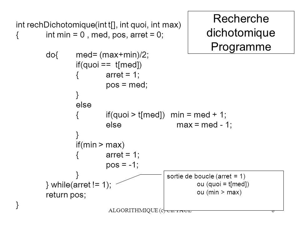 ALGORITHMIQUE (c) Ch. PAUL8 sortie de boucle (arret = 1) ou (quoi = t[med]) ou (min > max) int rechDichotomique(int t[], int quoi, int max) {int min =