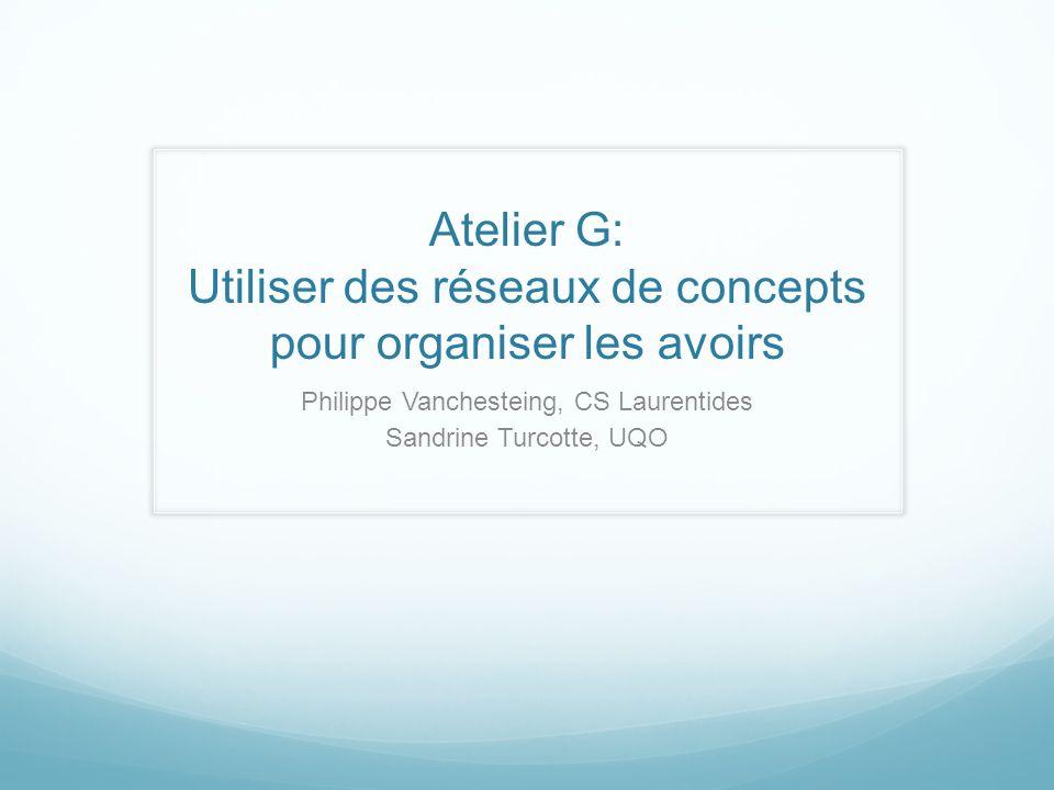 Atelier G: Utiliser des réseaux de concepts pour organiser les avoirs Philippe Vanchesteing, CS Laurentides Sandrine Turcotte, UQO