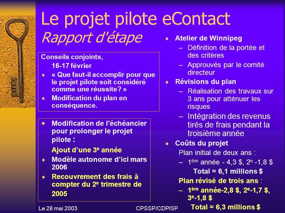 Le 28 mai 2003CPSSP/CDPISP Le projet pilote eContact Rapport d étape  Atelier de Winnipeg –Définition de la portée et des critères –Approuvés par le comité directeur  Révisions du plan –Réalisation des travaux sur 3 ans pour atténuer les risques –Intégration des revenus tirés de frais pendant la troisième année  Coûts du projet Plan initial de deux ans : –1 ère année - 4,3 $, 2 e -1,8 $ Total = 6,1 millions $ Plan révisé de trois ans : –1 ère année-2,8 $, 2 e -1,7 $, 3 e -1,8 $ Total = 6,3 millions $ Conseils conjoints, 16-17 février  « Que faut-il accomplir pour que le projet pilote soit considéré comme une réussite.