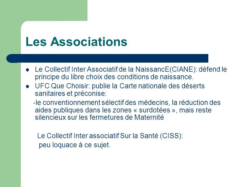 Les Associations Le Collectif Inter Associatif de la NaissancE(CIANE): défend le principe du libre choix des conditions de naissance.