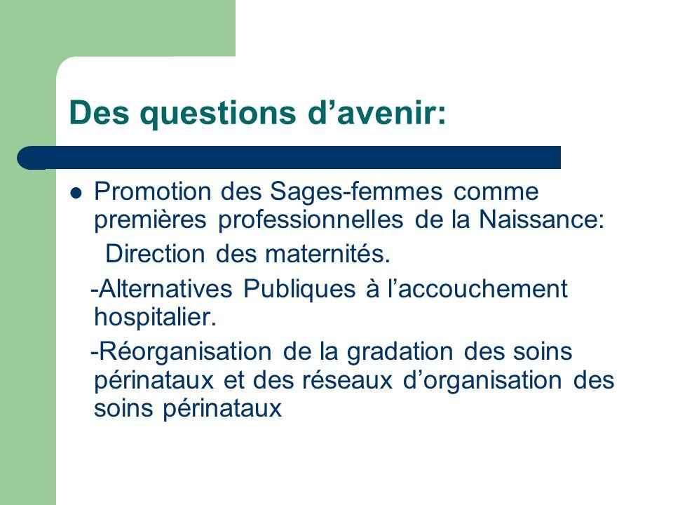 Des questions d'avenir: Promotion des Sages-femmes comme premières professionnelles de la Naissance: Direction des maternités.