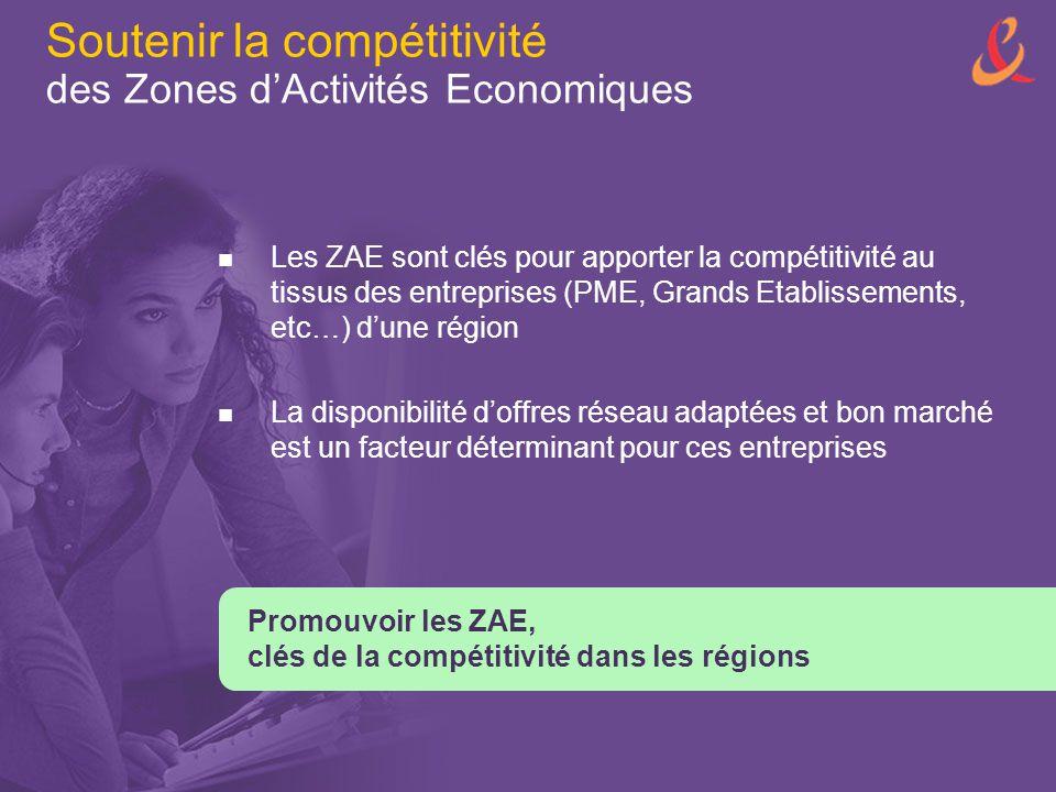Soutenir la compétitivité des Zones d'Activités Economiques Les ZAE sont clés pour apporter la compétitivité au tissus des entreprises (PME, Grands Et