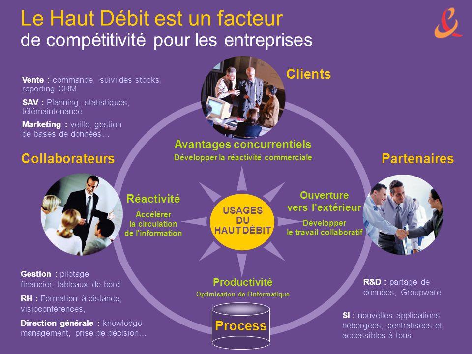 Le Haut Débit est un facteur de compétitivité pour les entreprises USAGES DU HAUT DÉBIT Clients Avantages concurrentiels Développer la réactivité comm