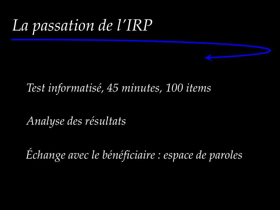 La passation de l'IRP La démarche d'évaluation Test informatisé, 45 minutes, 100 items Analyse des résultats Échange avec le bénéficiaire : espace de paroles