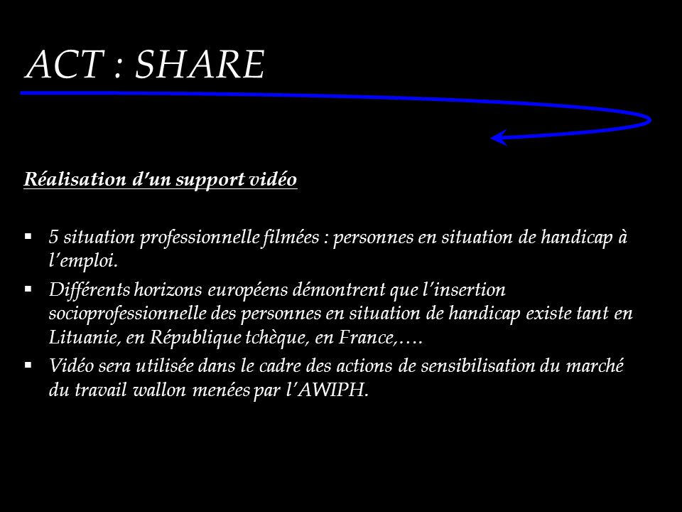 Réalisation d'un support vidéo  5 situation professionnelle filmées : personnes en situation de handicap à l'emploi.