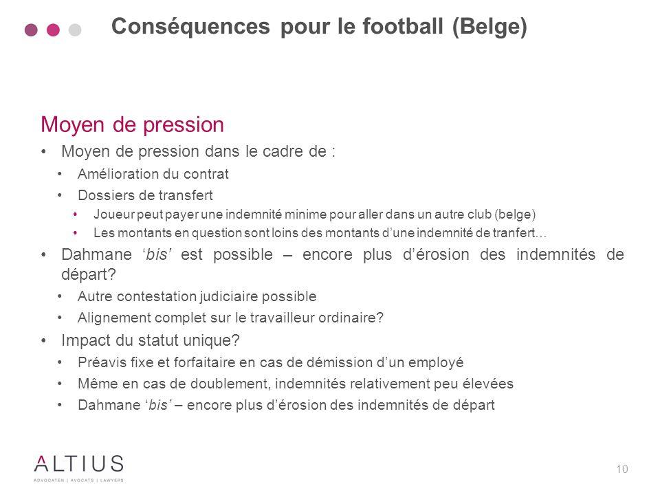 10 Moyen de pression Moyen de pression dans le cadre de : Amélioration du contrat Dossiers de transfert Joueur peut payer une indemnité minime pour al
