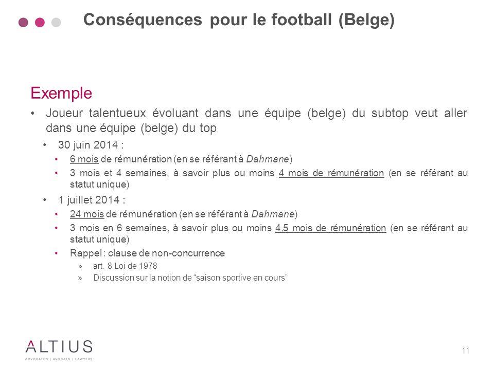 11 Exemple Joueur talentueux évoluant dans une équipe (belge) du subtop veut aller dans une équipe (belge) du top 30 juin 2014 : 6 mois de rémunératio