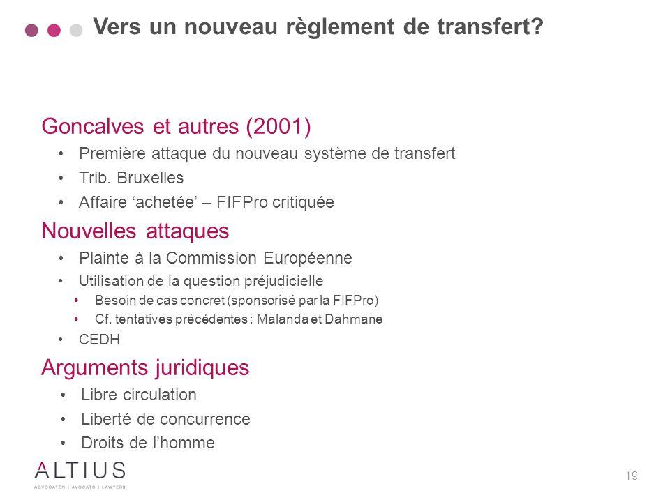19 Goncalves et autres (2001) Première attaque du nouveau système de transfert Trib. Bruxelles Affaire 'achetée' – FIFPro critiquée Nouvelles attaques
