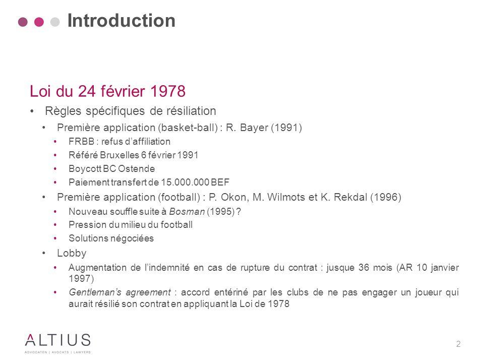 2 Loi du 24 février 1978 Règles spécifiques de résiliation Première application (basket-ball) : R. Bayer (1991) FRBB : refus d'affiliation Référé Brux