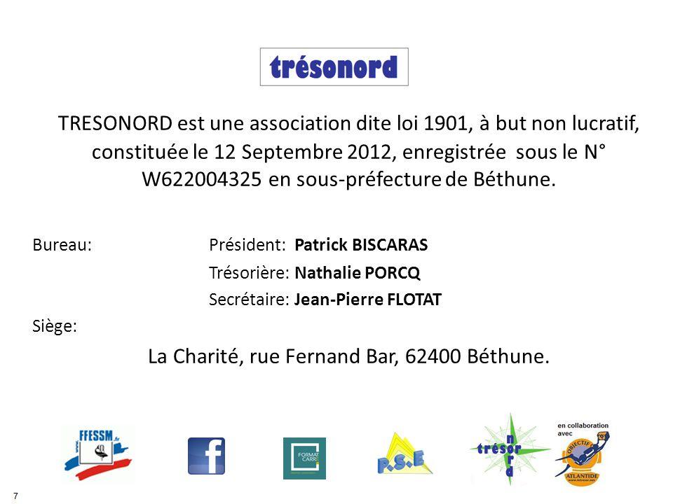 TRESONORD est une association dite loi 1901, à but non lucratif, constituée le 12 Septembre 2012, enregistrée sous le N° W622004325 en sous-préfecture de Béthune.