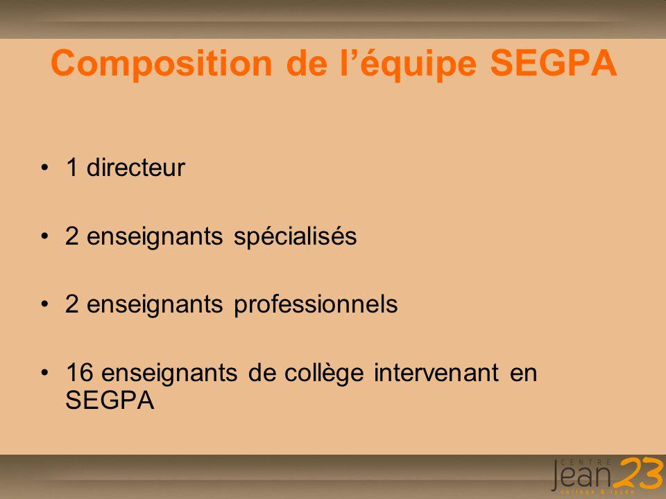 Un enseignement particulier Un effectif réduit : - 6 ème 13 élèves - 5 ème 18 élèves - 4 ème 12 élèves - 3 ème 12 élèves Une progression possible au rythme des besoins et des capacités des élèves.