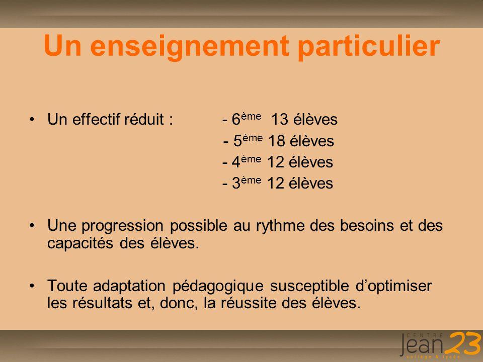 Un enseignement particulier Un effectif réduit : - 6 ème 13 élèves - 5 ème 18 élèves - 4 ème 12 élèves - 3 ème 12 élèves Une progression possible au r