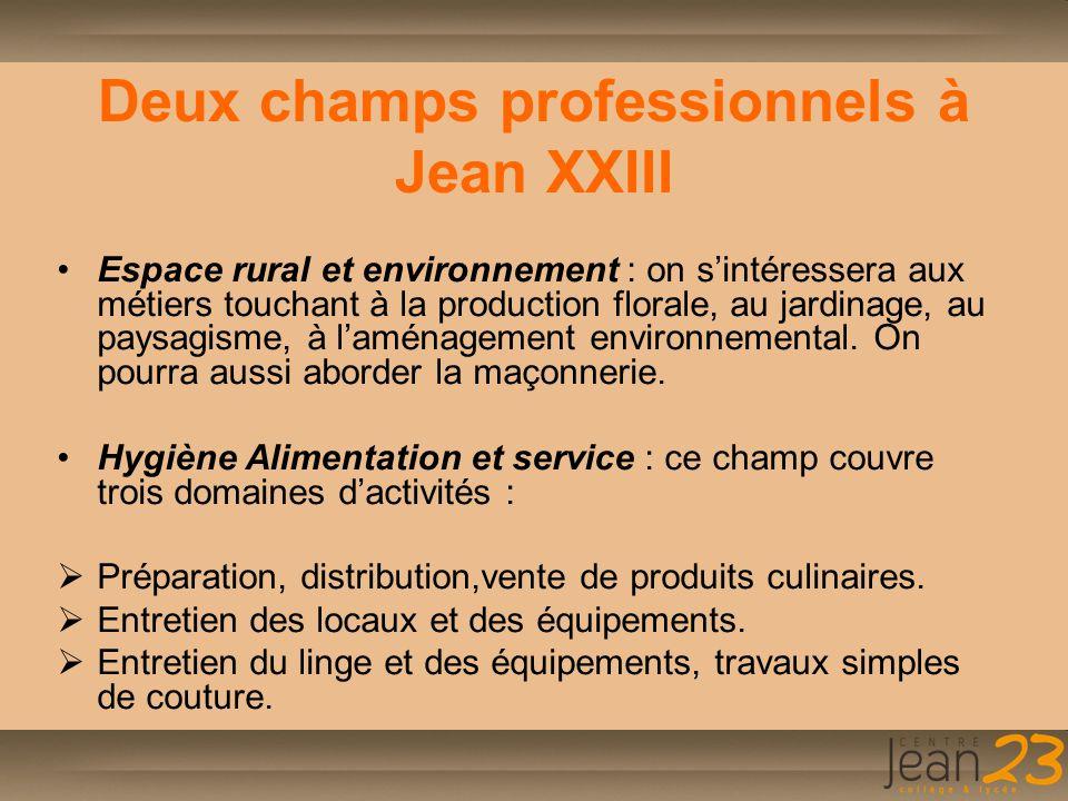 Deux champs professionnels à Jean XXIII Espace rural et environnement : on s'intéressera aux métiers touchant à la production florale, au jardinage, a
