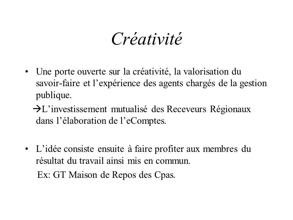 Créativité Une porte ouverte sur la créativité, la valorisation du savoir-faire et l'expérience des agents chargés de la gestion publique.  L'investi
