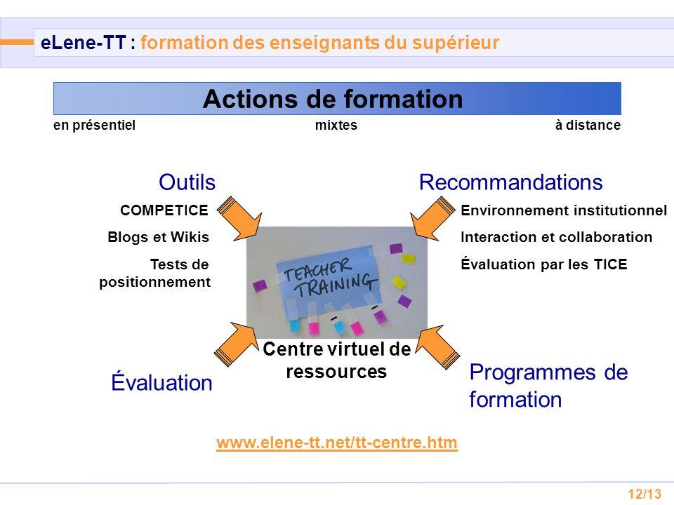 12/13 eLene-TT : formation des enseignants du supérieur Actions de formation en présentielmixtesà distance Centre virtuel de ressources www.elene-tt.n