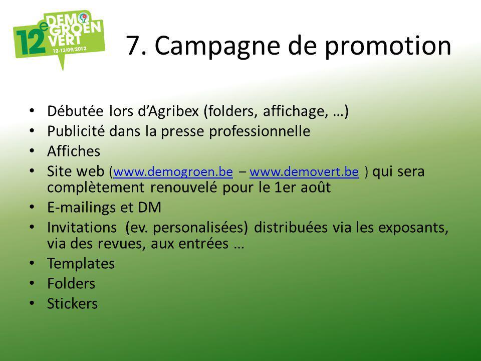 7. Campagne de promotion Débutée lors d'Agribex (folders, affichage, …) Publicité dans la presse professionnelle Affiches Site web (www.demogroen.be –