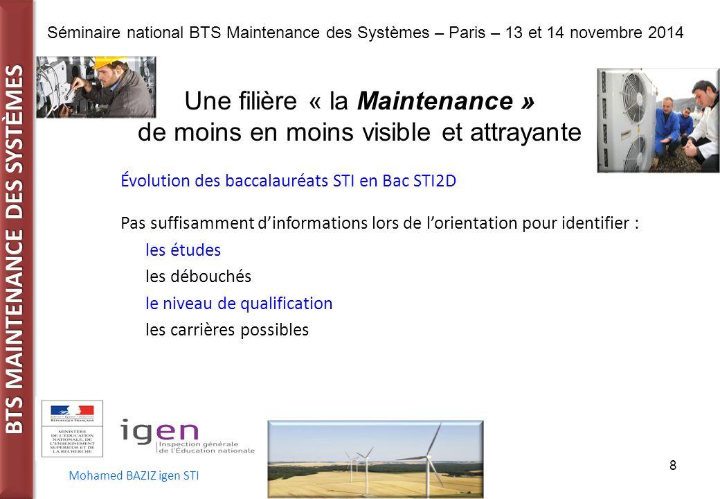 BTS MAINTENANCE DES SYST È MES Séminaire national BTS Maintenance des Systèmes – Paris – 13 et 14 novembre 2014 Mohamed BAZIZ igen STI 8 Une filière «