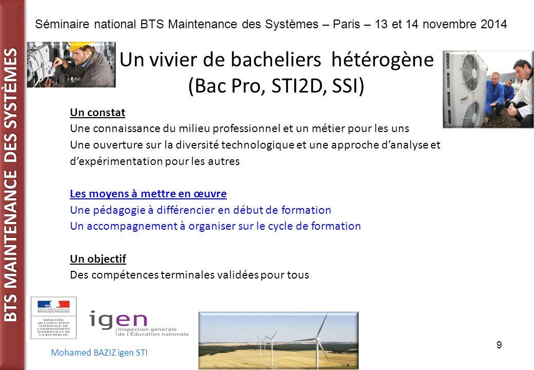 BTS MAINTENANCE DES SYST È MES Séminaire national BTS Maintenance des Systèmes – Paris – 13 et 14 novembre 2014 Mohamed BAZIZ igen STI 9 Un vivier de