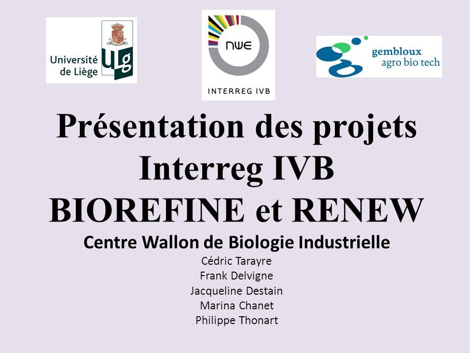 Présentation des projets Interreg IVB BIOREFINE et RENEW Centre Wallon de Biologie Industrielle Cédric Tarayre Frank Delvigne Jacqueline Destain Marina Chanet Philippe Thonart
