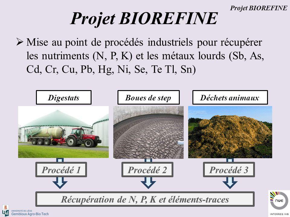  Mise au point de procédés industriels pour récupérer les nutriments (N, P, K) et les métaux lourds (Sb, As, Cd, Cr, Cu, Pb, Hg, Ni, Se, Te Tl, Sn) Boues de stepDéchets animaux Procédé 1Procédé 2Procédé 3 Récupération de N, P, K et éléments-traces Digestats Projet BIOREFINE