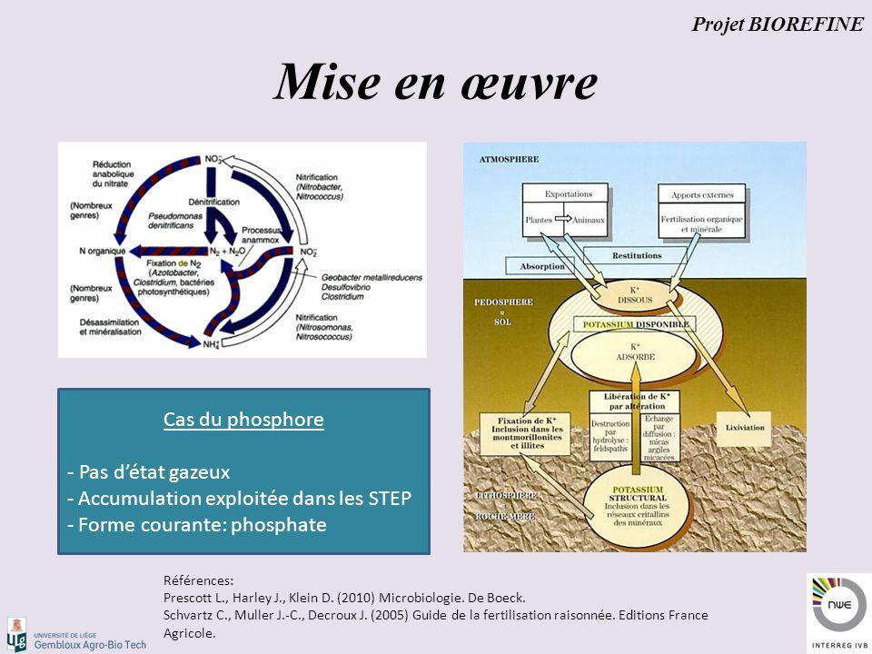 Mise en œuvre Projet BIOREFINE Cas du phosphore - Pas d'état gazeux - Accumulation exploitée dans les STEP - Forme courante: phosphate Références: Prescott L., Harley J., Klein D.