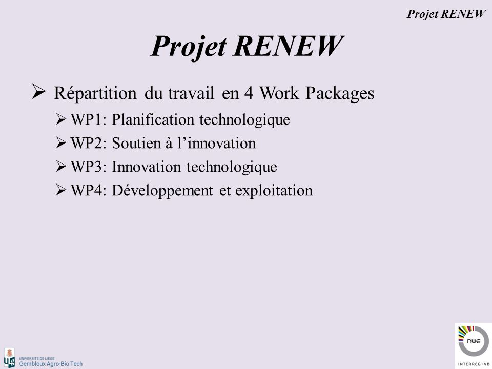 Répartition du travail en 4 Work Packages  WP1: Planification technologique  WP2: Soutien à l'innovation  WP3: Innovation technologique  WP4: Développement et exploitation Projet RENEW