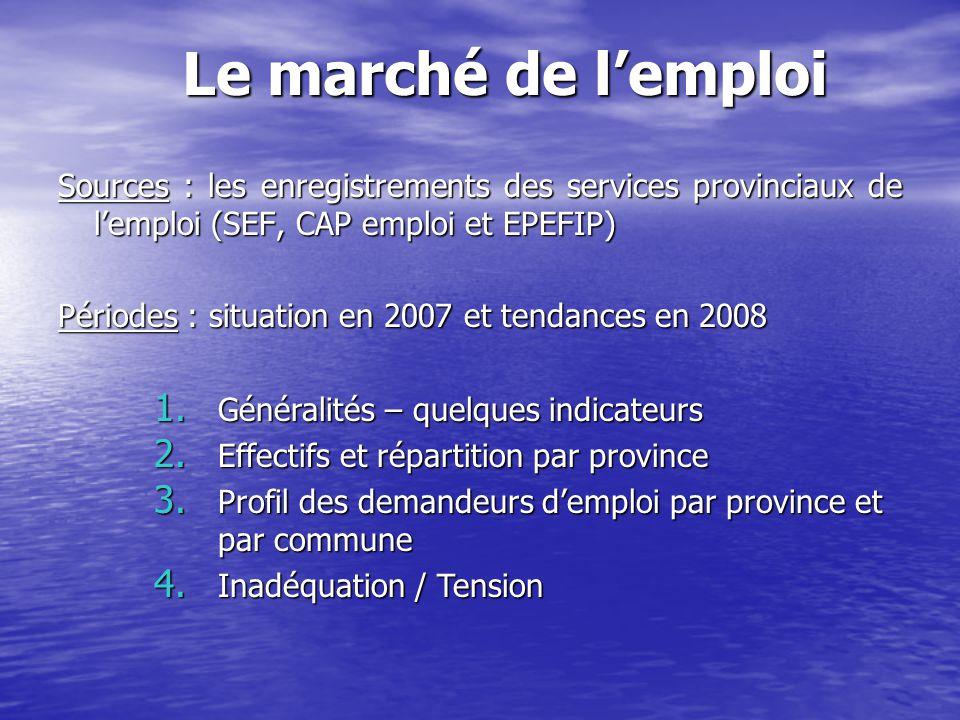 Sources : les enregistrements des services provinciaux de l'emploi (SEF, CAP emploi et EPEFIP) Périodes : situation en 2007 et tendances en 2008 Le ma