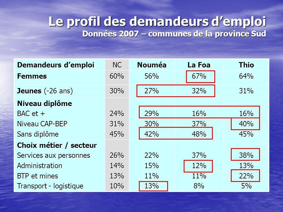 Le profil des demandeurs d'emploi Données 2007 – communes de la province Sud Demandeurs d'emploi NCNouméa La Foa Thio Femmes60%56%67%64% Jeunes (-26 a