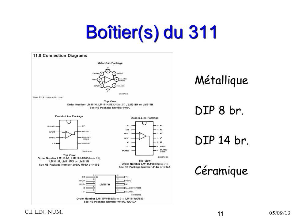 Boîtier(s) du 311 Métallique DIP 8 br. DIP 14 br. Céramique 05/09/13 C.I. LIN.-NUM. 11