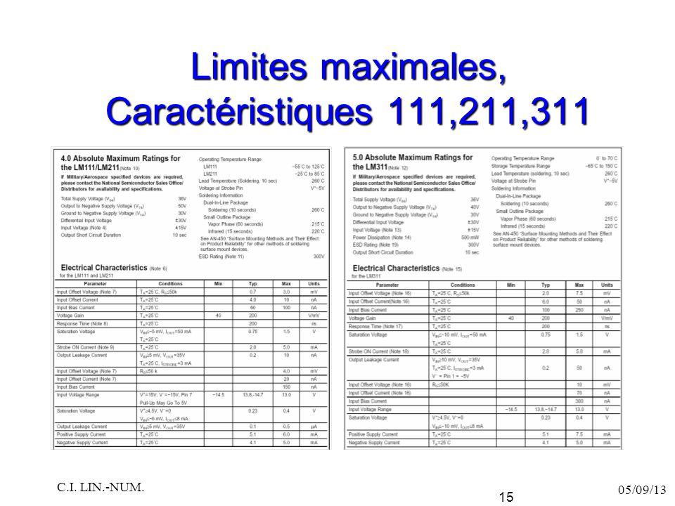 Limites maximales, Caractéristiques 111,211,311 05/09/13 C.I. LIN.-NUM. 15