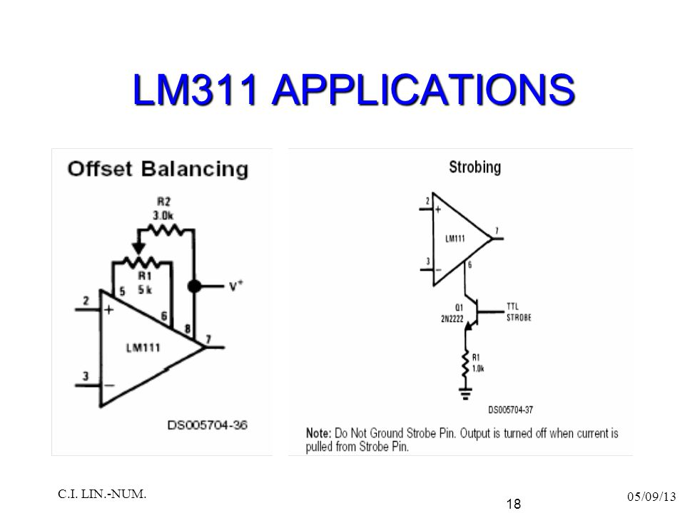 LM311 APPLICATIONS 05/09/13 C.I. LIN.-NUM. 18