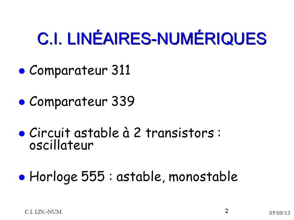 Comparateur 311 Comparateur 339 Circuit astable à 2 transistors : oscillateur Horloge 555 : astable, monostable 05/09/13 C.I. LIN.-NUM. 2