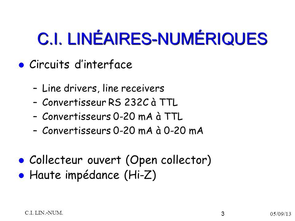 C.I. LINÉAIRES-NUMÉRIQUES Circuits d'interface –Line drivers, line receivers –Convertisseur RS 232C à TTL –Convertisseurs 0-20 mA à TTL –Convertisseur