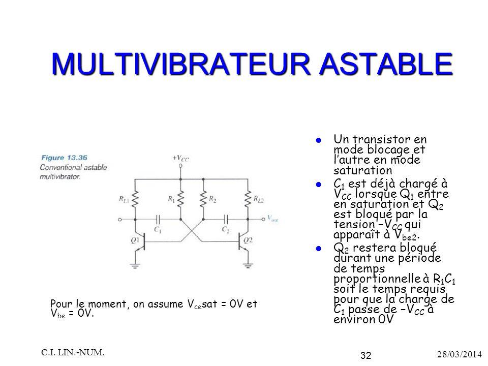 MULTIVIBRATEUR ASTABLE Un transistor en mode blocage et l'autre en mode saturation C 1 est déjà chargé à V CC lorsque Q 1 entre en saturation et Q 2 e