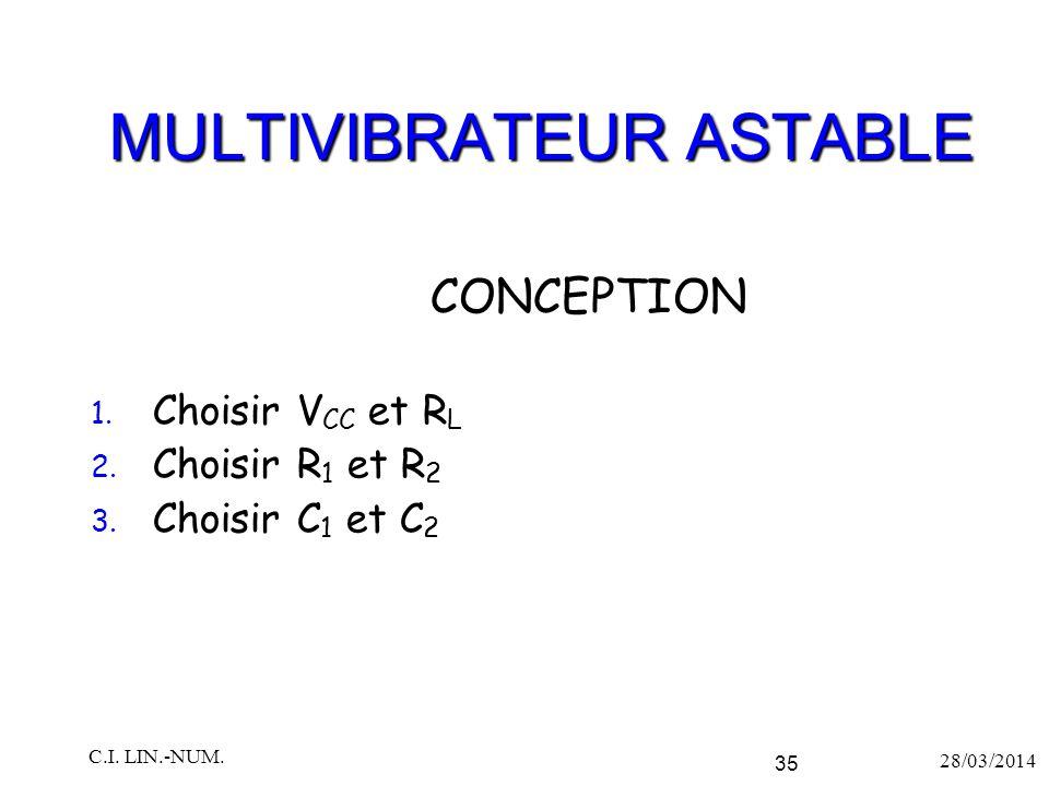 MULTIVIBRATEUR ASTABLE 1. Choisir V CC et R L 2. Choisir R 1 et R 2 3. Choisir C 1 et C 2 28/03/2014 C.I. LIN.-NUM. 35 CONCEPTION