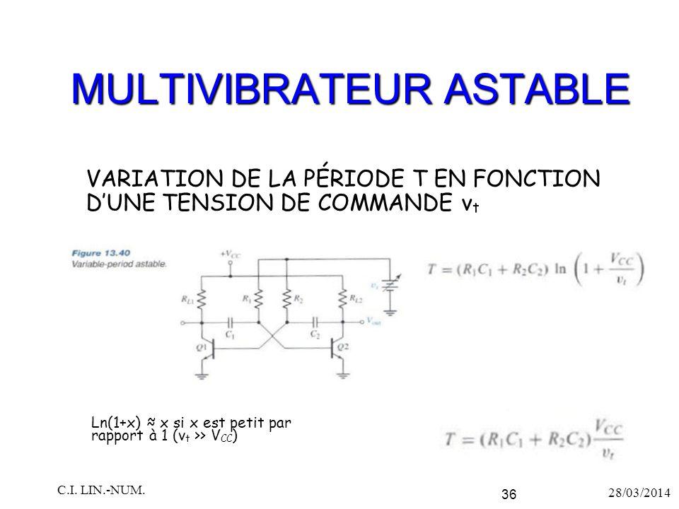 MULTIVIBRATEUR ASTABLE VARIATION DE LA PÉRIODE T EN FONCTION D'UNE TENSION DE COMMANDE v t 28/03/2014 C.I. LIN.-NUM. 36 Ln(1+x) ≈ x si x est petit par