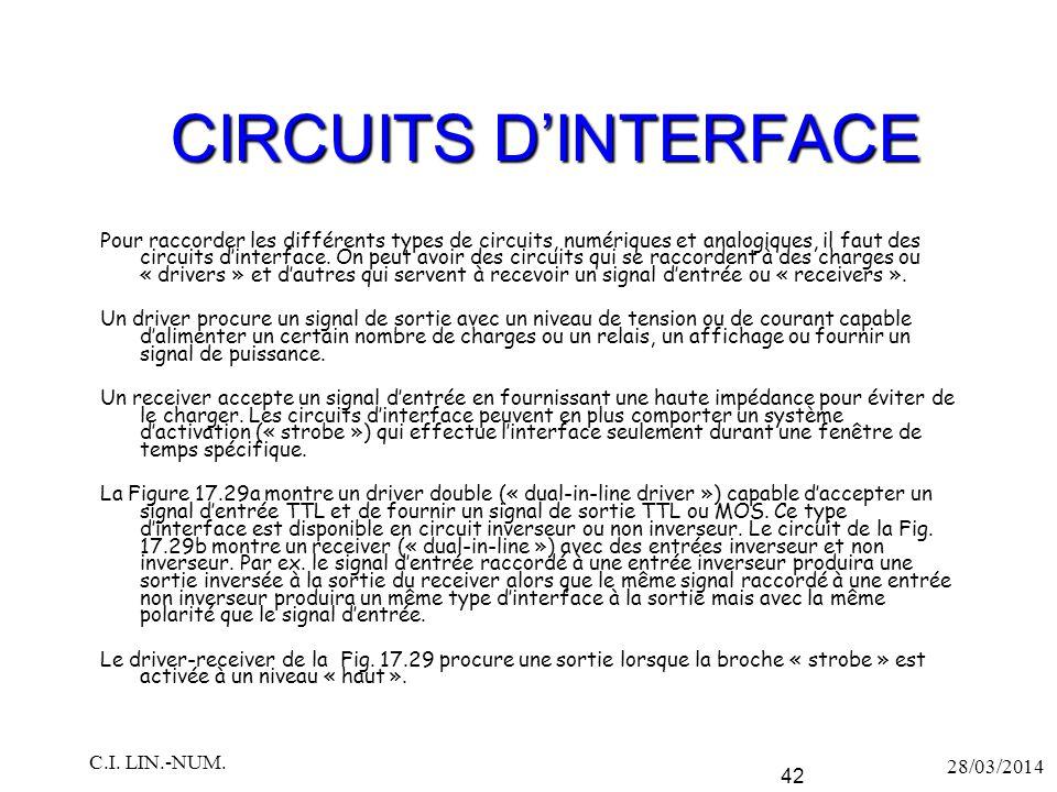 CIRCUITS D'INTERFACE Pour raccorder les différents types de circuits, numériques et analogiques, il faut des circuits d'interface. On peut avoir des c