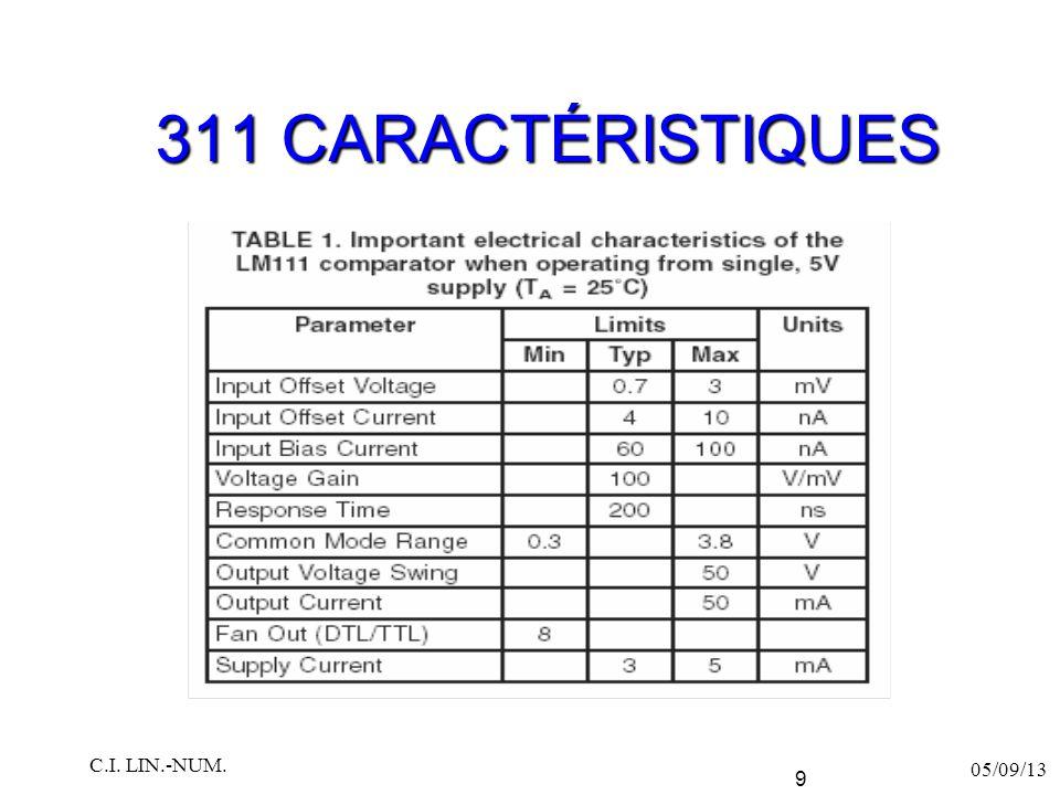 311 CARACTÉRISTIQUES 05/09/13 C.I. LIN.-NUM. 9
