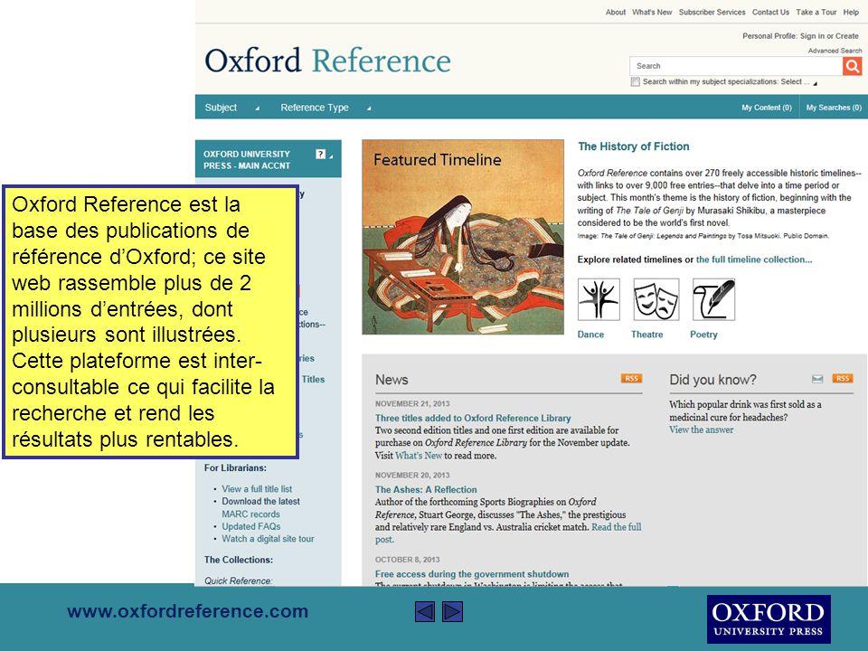 Cette présentation est un bref descriptif d'Oxford Reference Online Elle couvrira La fonction d'Oxford Reference Online L'aide qu'Oxford Reference Online peut procurer Comment y rechercher des informations La présentation est d'environ 5 minutes