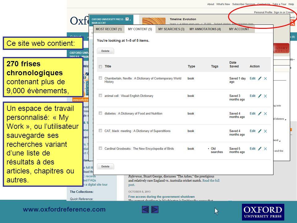 www.oxfordreference.com Ce site web contient: Plus de 300,000 vues d'ensembles définissants chaque terminologie sur Oxford Reference.