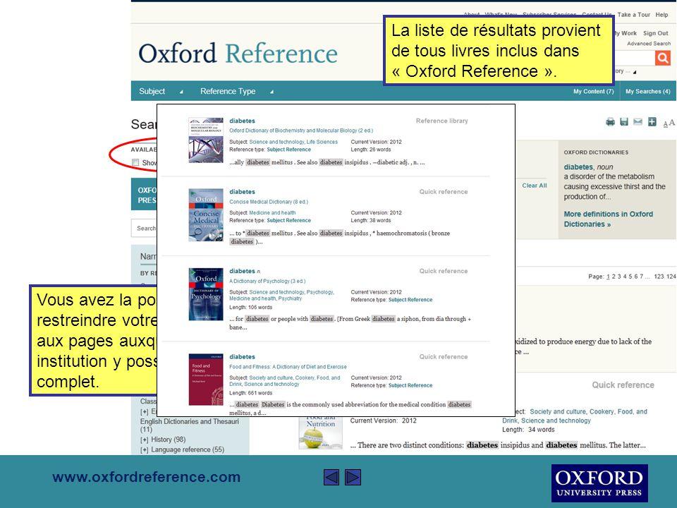 www.oxfordreference.com Lancer votre recherche sur « Oxford Reference » en utilisant la fenêtre de recherche standard en haut à droite de la page.