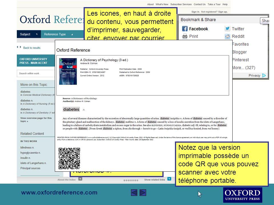 www.oxfordreference.com La colonne à gauche vous permet d'affiner votre recherche selon le type de référence, le sujet, le contenu et les résultats possédant des illustrations.