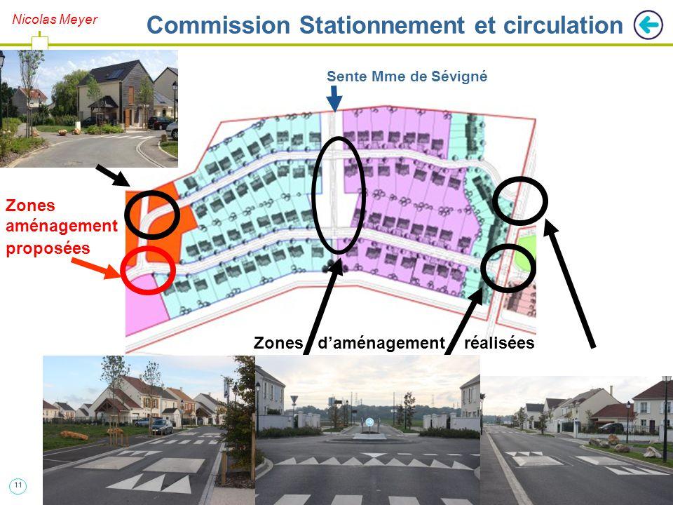 11 Nicolas Meyer Commission Stationnement et circulation Sente Mme de Sévigné Zones d'aménagement réalisées Zones aménagement proposées