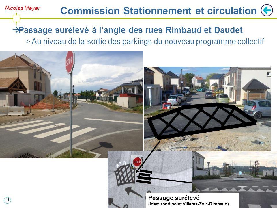 13 Nicolas Meyer Commission Stationnement et circulation  Passage surélevé à l'angle des rues Rimbaud et Daudet > Au niveau de la sortie des parkings